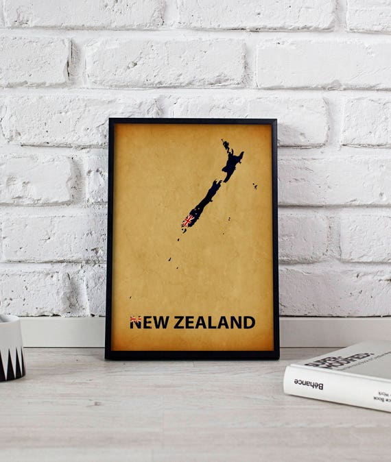 New Zealand poster New Zealand art New Zealand Map poster New
