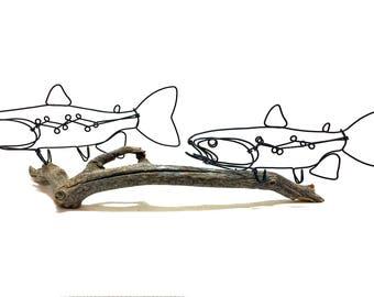 Double Trout Wire Sculpture, Trout Art, Fish Wire Art, Wire Folk Art, 576051160