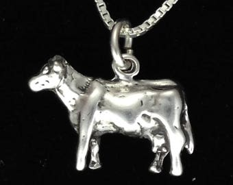 Dairy Cow Necklace Pendant Sterling Silver 3D with Silver Chain Livestock Jewelry Gift for 4H FFA Farm Shows