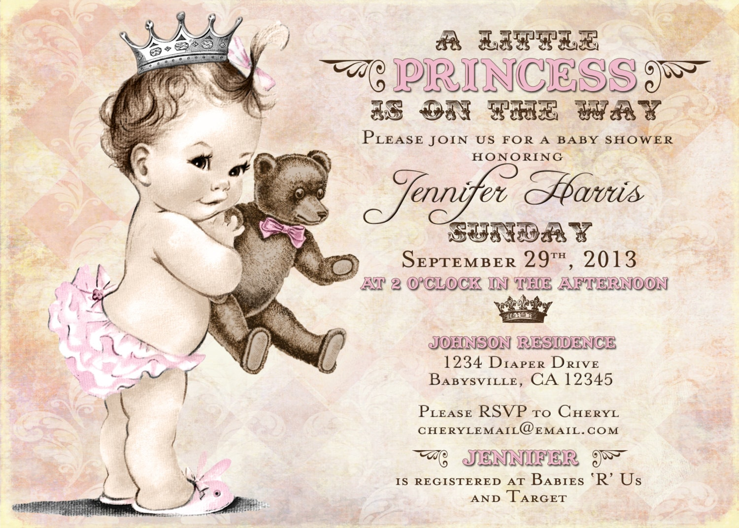 Teddy Bear Baby Shower Invitation For Girl Princess Crown