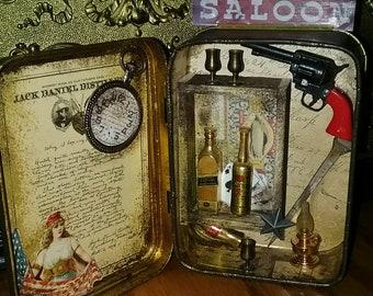 Tin Jack Daniel's Box DIORAMA Altered Re-purposed Mixed Media 3-D Western SALOON