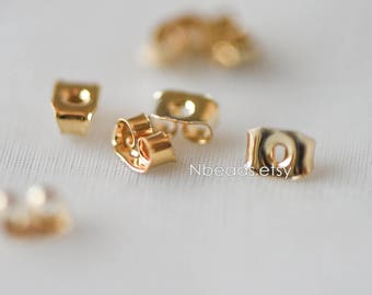 20pcs Gold plated Brass Ear Nuts, Earring Back Stoppers 5mm/ 7mm, Jewelry Findings Wholesale   (#GB-142)