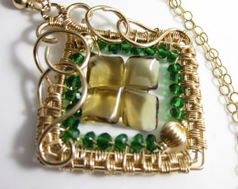 Luck 'O the Irish Necklace - Carved Whiskey Quartz and Green Quartz in 14k Gold Fill Wrapped Pendant