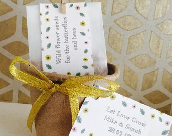 10 x Handmade & Personalised Wildflower Seed Wedding Favours, Fibre Seed Pot Favours, Unique Wedding favours, Let Love Grow