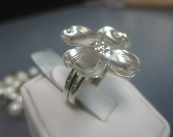 Sterling Silver Hand Forged Dogwood Ring Size 6 or 7
