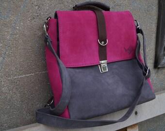Satchel/ Backpack pink-gray