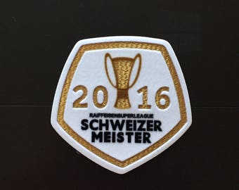 """2016 Soccer Champions SCHWEIZER MIESTER Iron on Embroidered patch (L=3.25"""" W=3.0"""")"""