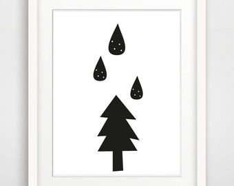 Printable Nursery Art Print Raindrops Print Black White Nursery Print Minimalist Print Instant Download Art Modern Woodland Scandinavia Art