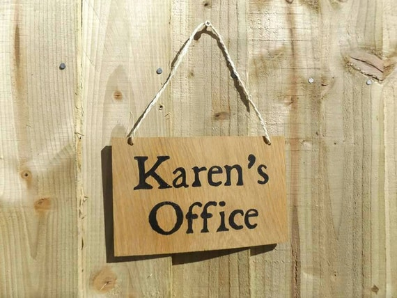 Personalised office sign Oak wood office sign Door Sign