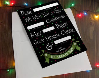 Customized Holiday Christmas Card - Mad Libs Style - Digital File