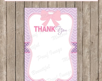 Thank You Note Card - Pink and Purple Chevron Baby Shower Printable 4x6 Thank You Note Cards-  ll2  INSTANT DOWNLOAD