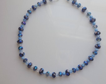 Blue Glass Lampwork bead necklace