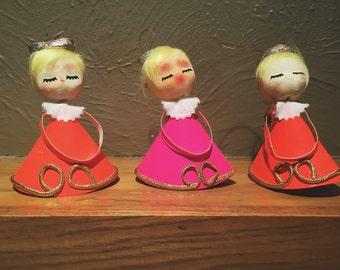 Vintage Angel Ornaments Neon Brite | 1960's Ornaments