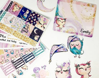 Night Owls Bundle//EC HP Sticker Bundle//sticker weekly kit//die cuts//custom note pad