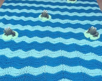 Crochet 3D Frog Wave Blanket