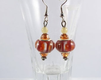 Earrings orange milky and Brown beads (hooks or clips)