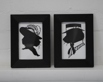 Paper cut Victorian inspired vintage animal cat bust silhouette