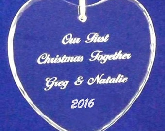 "3"" crystal heart first 1st Christmas ornament engraved personalized custom free shipping in US 2016"