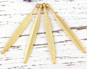 Gold Plated Long Leaf Charm Pendants, 4 pieces// GP-475