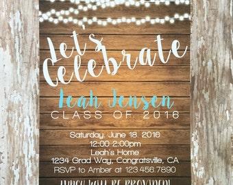 printable wood graduation party invitations, digital rustic graduation invites, country twinkly light grad invite, graduation invite
