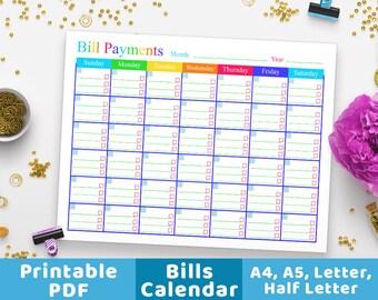 Bill Payments Calendar, Bills Tracker, Bill Calendar, Bills Tracker Monthly Planner, Personal Finance, Budgeting, Money Management PDF