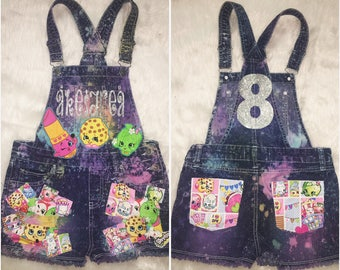 Birthday Girl Custom Denim Overalls Shorts Romper but ANY CHARACTER THEME birthday outfit