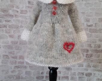 "pdf knitting pattern - Lots of Love dress for 12"" Blythe"
