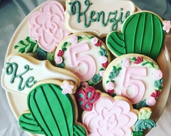 1 dozen cactus and succulent themed birthday party cookie favors!