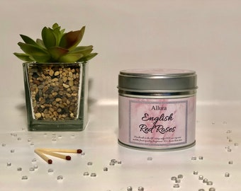 English Red Roses Scented Candle Tin