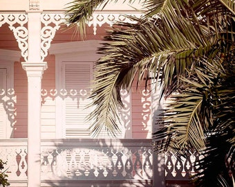 Afternoon Sun, Sweet Pink Cottage, Tropical, Photography Print, Coastal, Beach House, Home Decor, 5x5 and larger print