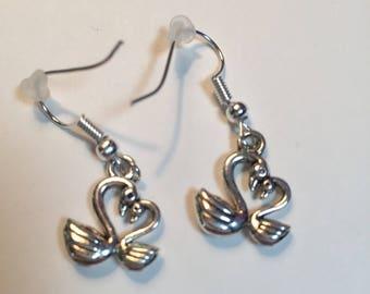 Swan Heart sterling silver earrings