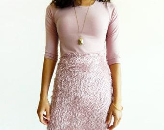 Mauve Eyelash Bouclé High Waist Mini Skirt / Fuzzy Skirt / Pencil Skirt / Fitted Skirt / Short Skirt / Women's Fashion / 19th & Whimsy