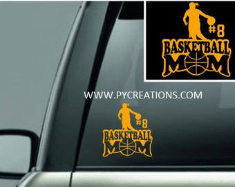 Basketball Mom Car Decal, Basketball Dad, Vinyl Window Decal,5.5x5.5 Personalized Basketball Decal With Players Number