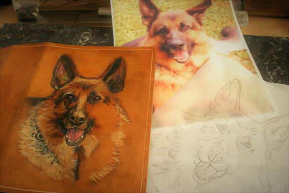 Planner notebook tooled leather bearing the image of your animal companion preferred or gone