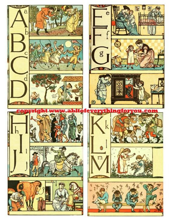 "fairytale alphabet vintage art clip art collage sheet 3.5"" x 5"" inch graphics images digital download kids craft printables nursery room"