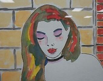 """Wayne Ensrud Framed Original Watercolor """"Lisa on Flower with certificate"""