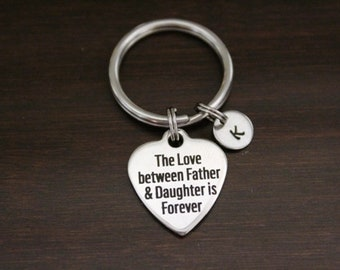 The Love Between Father & Daughter is Forever Key Ring/ Keychain / Zipper Pull - Family Lover Gift - Dad Memorial - Gift for Dad - I/B/H
