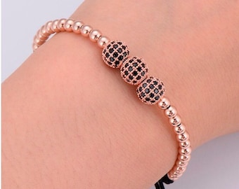 Beaded CZ Ball Bracelet • Silver, 14K Gold-Filled or 14K Rose Gold-Filled Beaded CZ Ball Bracelet • Women Beaded Bracelet • BOHO Bracelet