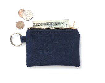 Canvas Keychain Coin Purse Slim Wallet Zipper Pouch Blue