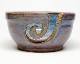 Pottery Yarn Bowl - custom blue purple stoneware ceramic yarn bowl - wheel thrown yarn bowl - handmade - knitting gift - crochet bowl gift