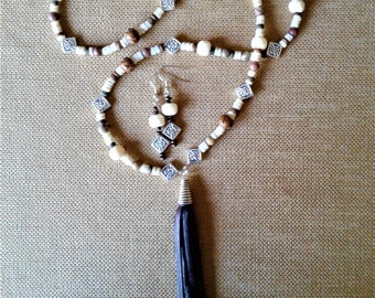 Long Brown and White Necklace and Earring Set