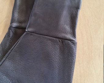 Black Deerskin Leather gauntlet medieval or motorcycle gloves .....made in USA