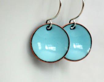 Robin's Egg Blue Enamel Earrings - Enamel Jewelry, Minimalist Jewelry, Minimalist Earrings, Simple Earrings, Dot Earrings, Boho Jewerly