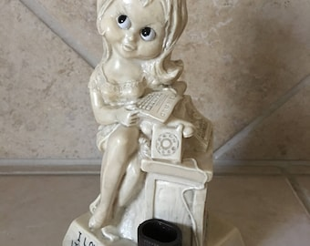 Vintage R&W Berries Co Secretary Figurine - I love my Job, It's work I hate - Circa 1972 - Made in USA - Lady reading paper at desk