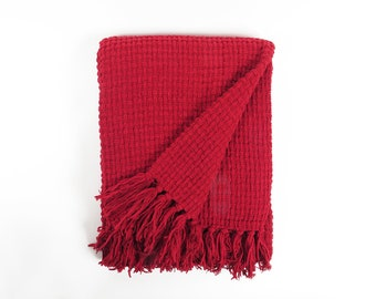 Supremely Soft Red Basket Weave Chenille Throw , Luxurious Red Basket Weave Chenille Throw, Deep Red Chenille Throw