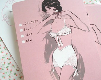 Lingerie Shower Invitations - 60s Vintage Fashion Illustration - Pin Up - Set of 10 - Ready to  Ship