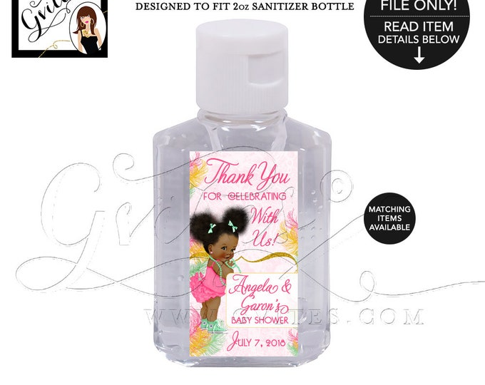 Sanitizer Label Baby Shower Labels, Party Favors, Gifts, Stickers, Printable, Pink and Mint Gold Digital File, JPG + PDF  16/Per Sheet.