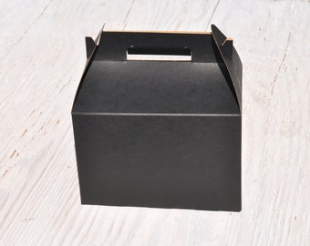 10 Large Black Gable Box 9x6x6 Favor Boxes