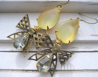 Lavinia  vintage jewel earrings, vintage brass bow, yellow and grey teardrop jewels, Women of Downton Abbey Series.