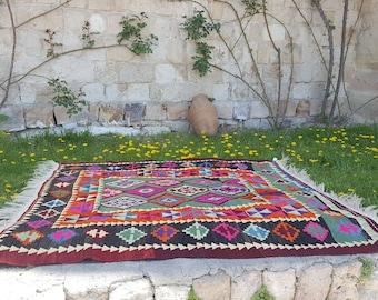 Anatolian Handmade Kilim 100% Wool 71'' x 76'' Handwoven Decorative Kilim Rug